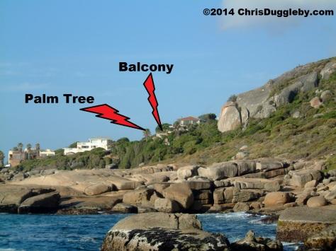My Balcony at Sunset Rocks, Llandudno, and local Palm Tree