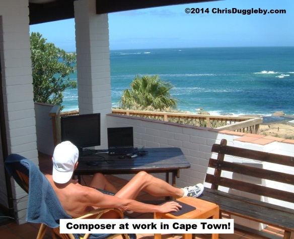 Composer tries to get inspiration in Cape Town for another mega hit (Photo taken secretly by RISKKO after I had just had a shower!)