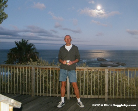 Balcony picture taken showing Sunset Rocks, Llandudno, during a full moon