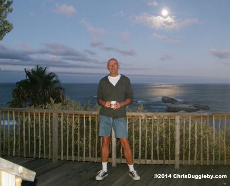 Balcony picture taken showing Sunset Rocks, Llandudno, during a full moon