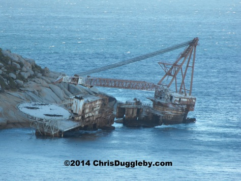 Near Sandy Bay beach, Llandudno, Cape Town: Wreck of the crane barge (with helicopter pad) MV Bos 400 - ran aground 27th June, 1994
