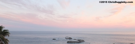 1 Moon setting over 'Sunset' Rocks, Llandudno, Cape Town 0645 6th March 2015