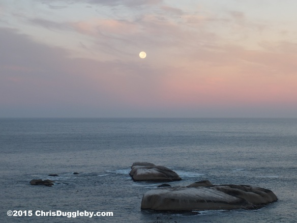 2 Moon setting over 'Sunset' Rocks, 0645 6th March 2015