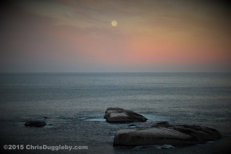 3 Moon setting over 'Sunset' Rocks, 0645 6th March