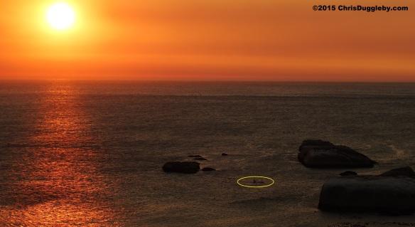 5 Canoeist paddling past Sunset Rocks at Sunset
