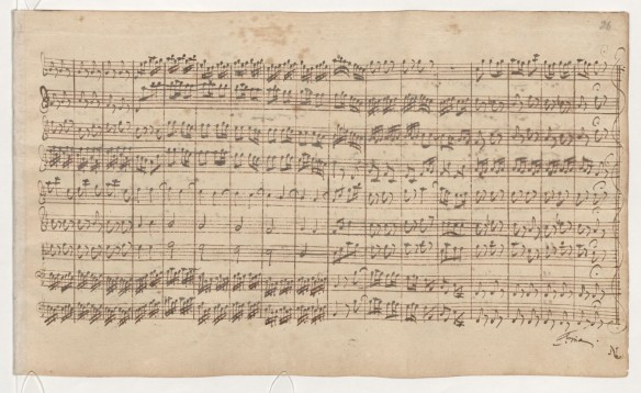 Page from J.S. Bach's handwritten 1721 score of the 2nd Brandenburg Concerto (part 3)