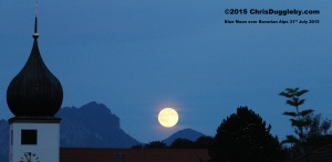 3 Blue and White - Bavarian State colours - on July 31st even the moon was blue in Bad Feilnbach