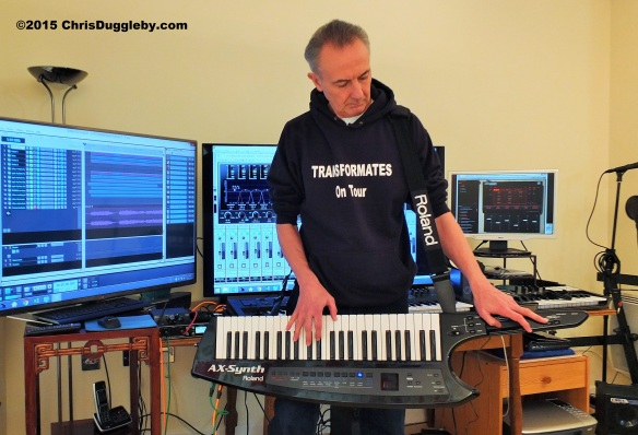 Chris Duggleby 'jamming' to an electro-baroque piece with the Roland AX Synth in his VALIUMM 1 studio