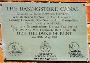 Basingstoke Canal 1991 restoration plaque