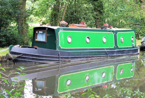 Canal Boat with flowers on the River Wey Navigation Waterway