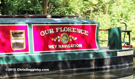 Canal Boat Artwork on the River Wey Navigation Waterway