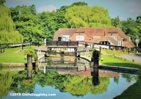 Canal Boat Refreshments at the Anchor on the Wey Navigation Waterway at Pyrford