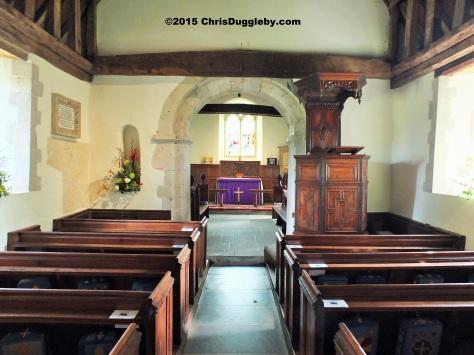 Interior view 3 Norman Church St Nicholas 1140 AD near Pyrford from Chris Dugglebys article on Surrey Walks DSCF6489 (2)
