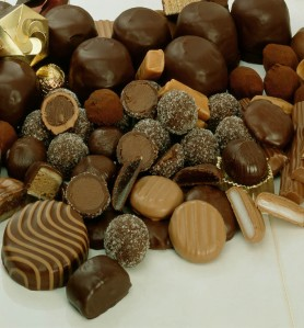 Typical example of different kinds of delicious Chocolates