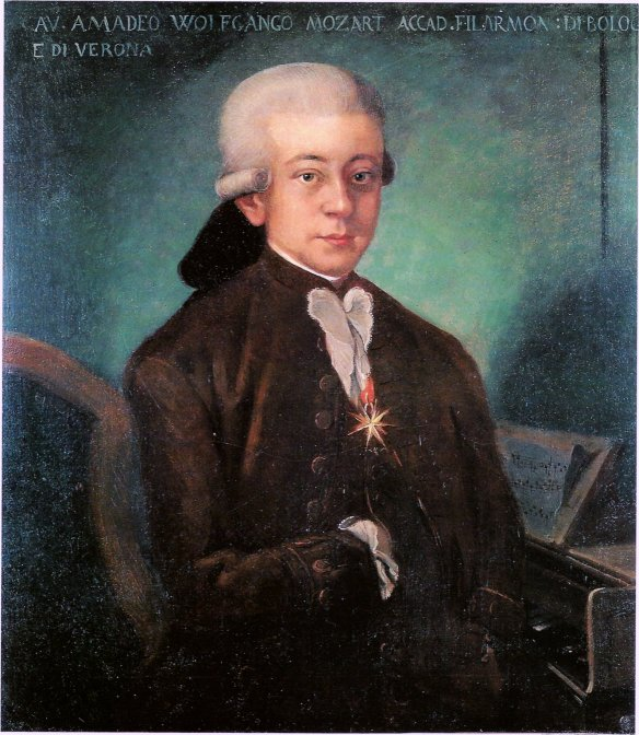 Wolfgang Amadeus Mozart wearing the Order of the Golden Spur awarded to him by Pope Clement XIV