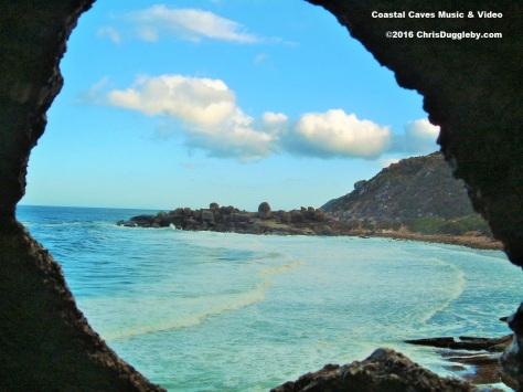 Cave view of Llanduno Rocks