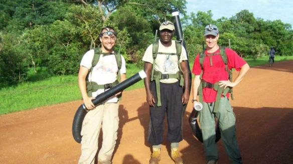 Kobylinski, Foy, collecting mosquitoes in Senegal with Massamba Sylla (courtesy of Brian Foy)