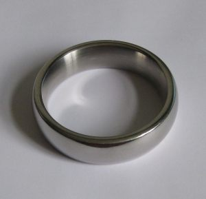 A made-to-measure 55 mm Metal Penis Ring of the type sometimes used for erectile dysfunction