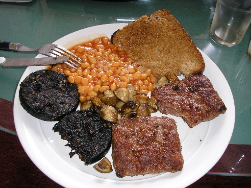 "Black Pudding Breakfast - a Scottish approach to dealing with sexual dysfunction - sometimes known as the ""morning after pill"". Apparently it works on both sexes."