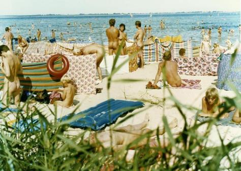 Typical Nudist Freikörperkultur Beach in Germany