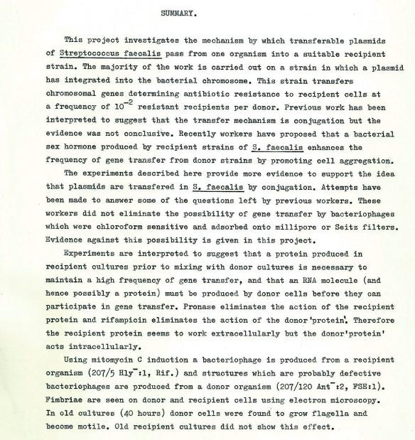 Chris Duggleby 1979 Dissertation Summary