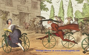 Quakers Demonstrating Velocipede Capabilities in this 1819 Print
