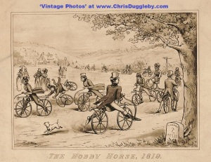 1819 The Velocipede - A Must Have For 'Dandies'. Who Needs Pedals? Published in 1894