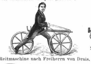 In the Early Days Riders Had Freedom from Pedals. As Here With Von Drais' 1818 'Reitmschine' (Riding Machine)