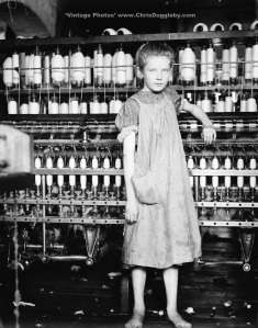 This Spinner is 12 year old Addie Card at North Pormal Cotton Mill, Vermont, USA (1910)