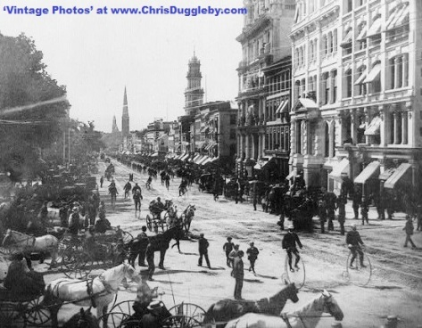 1885 Bicycle Parade at Hartford, Connecticut, USA