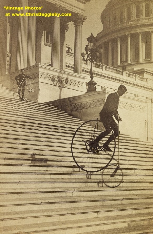 Steps No Problem for These Penny Farthing Pros in 1884