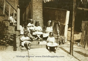 The Donovan Children aged from 7 to 13 are making tags for Dennison Co., Roxbury, Mass., USA (1912)
