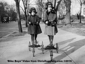 Glamourous models posing on bicycles