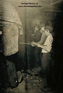 Young Boy Working on the Night Shift - Reheating Glass Objects in the 'Glory Hole' in Grafton 1908
