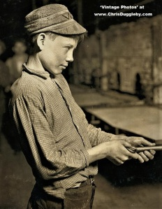 This 'Carrying-In' Boy, 15 yrs old, was paid $1.25 for 9 hrs of Night Work at the Lehr Glass Works 1908