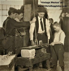 Very Young, 9 or 10 yr old, Boy 'Novice' Being 'Broken-in' by his Glass Manufacturing Boss at Morgantown, W. Va