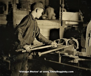 Edwin Cope, 13 yrs, At The 'Glory Hole' of Cumberland Glass Works, Bridgeton, N.J. 1909