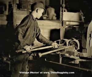 Edwin Cope, 13 yrs, At The 'Glory Hole' of Cumberland Glass Works, Bridgeton, N.J. 1909