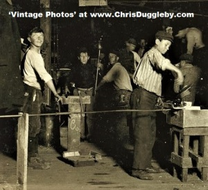 Young Boy On the Night Shift At A New Jersey Glass Works 1909