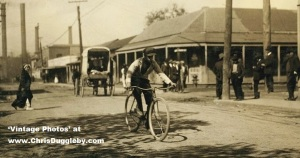 Dallas Texas Reservation Red Light Area as a messenger boy passes through in 1913