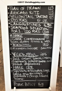 Menu of the day at the Harbour House Restaurant in Kalk Bay
