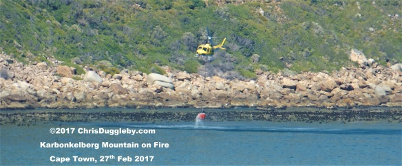 All in a day's work: Cape Town Chopper Squad putting out fires on the rocks near Sandy Bay Beach